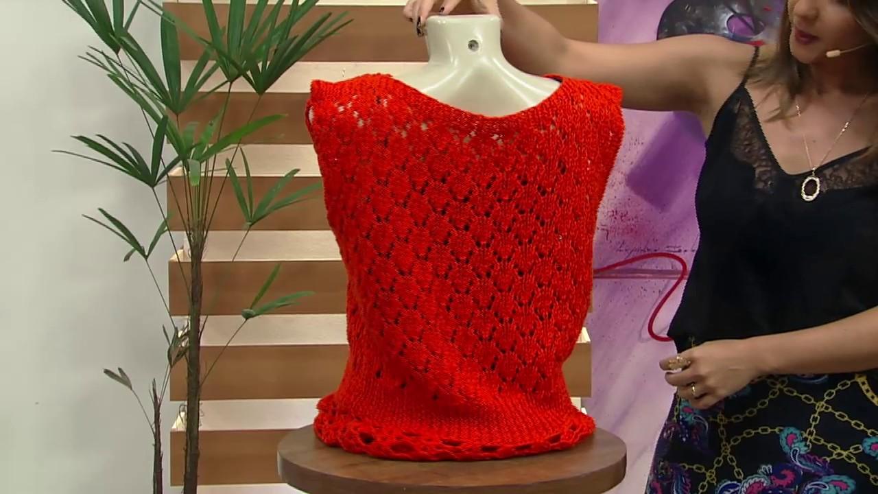 66a2ab8c44 Blusa laranja em tricô por Vitória Quintal - 24 10 2016 - Mulher.com -  Parte 1 2 - YouTube