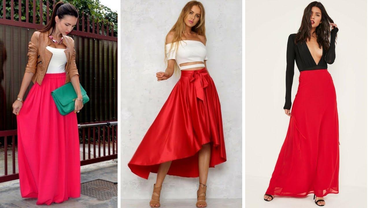 5640cea0fb FALDAS LARGAS ROJAS 👗¡15 Fantásticas Alternativas !  Moda  Fashion  Faldas
