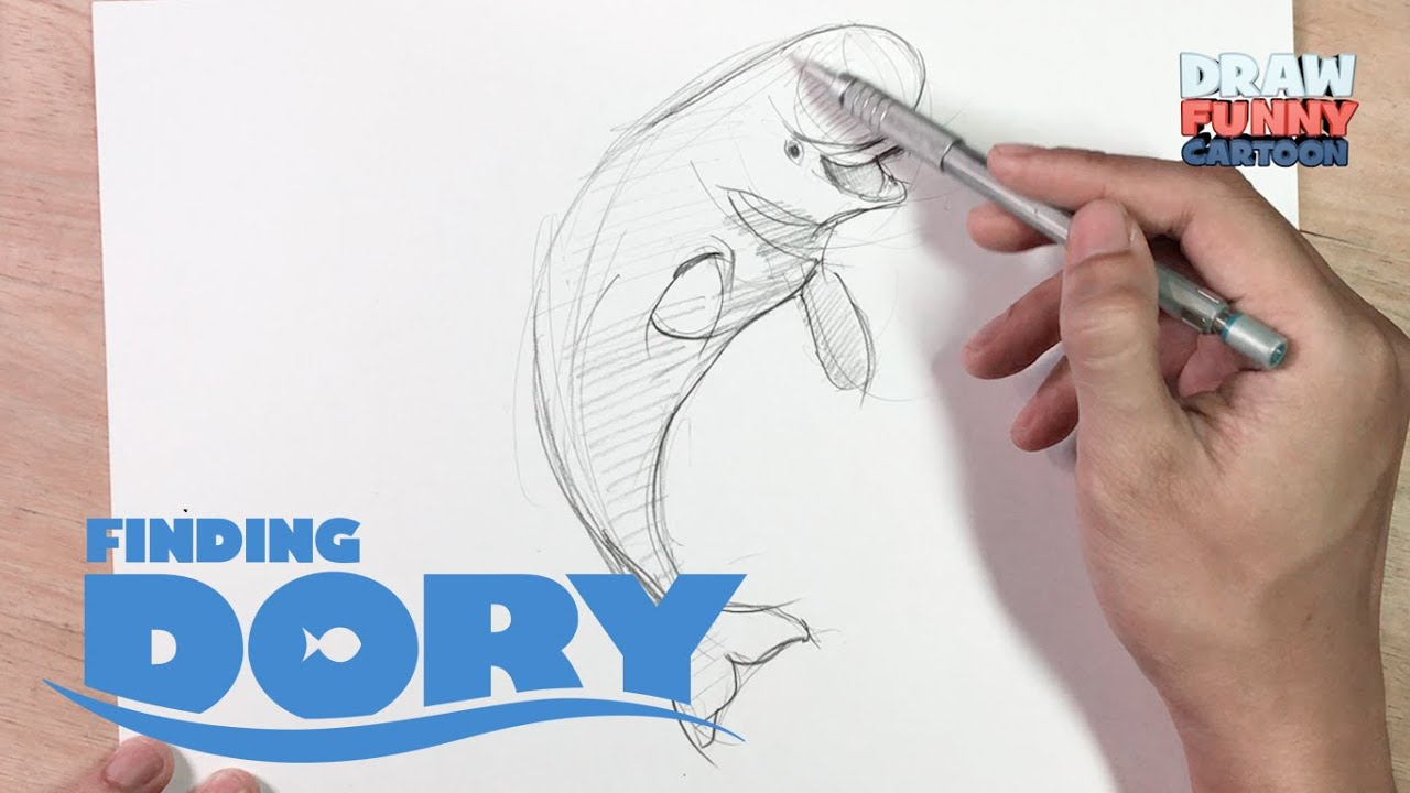 how to draw bailey the beluga whale from the finding dory movie youtube
