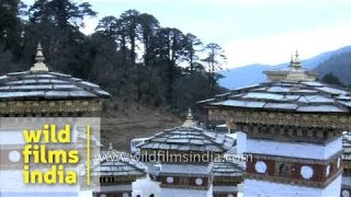 108 stupas on Dochula pass : one of the famous tourism sites in Bhutan
