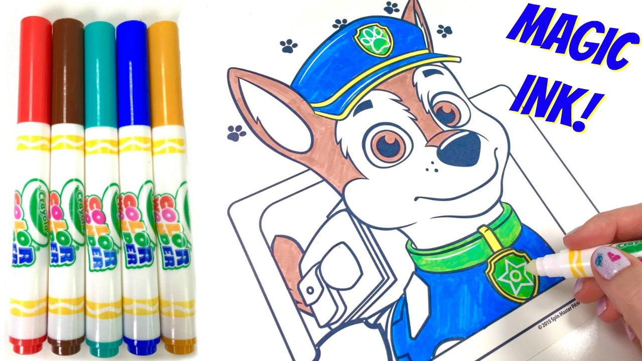 paw patrol chase crayola color wonder magic ink marker coloring book surprise youtube - Magic Marker Coloring Book