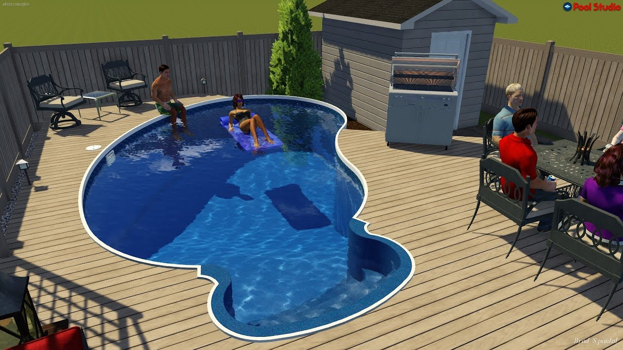 Kidney Semi Inground Pool With Wooden Deck By Rideau Pools Ottawa Youtube