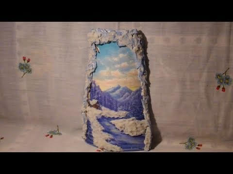 Tutorial decoupage su tegola di ceramica con effetto neve - Coppi decorati in rilievo ...