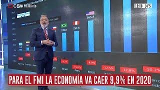 Caída de la economía (FMI) y fallecidos por millón de habitantes