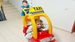 Ali and Adriana Ride on Taxi Toy Car at home