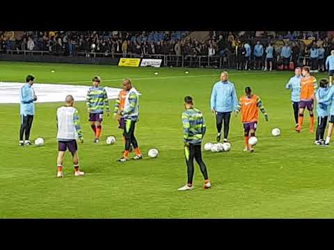 Oxford United v Manchester City.  City warm up (1of2)