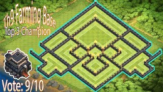 Coc th9 farming base 2017. Clash of clans town hall 9 best farming base anti all combo new update.