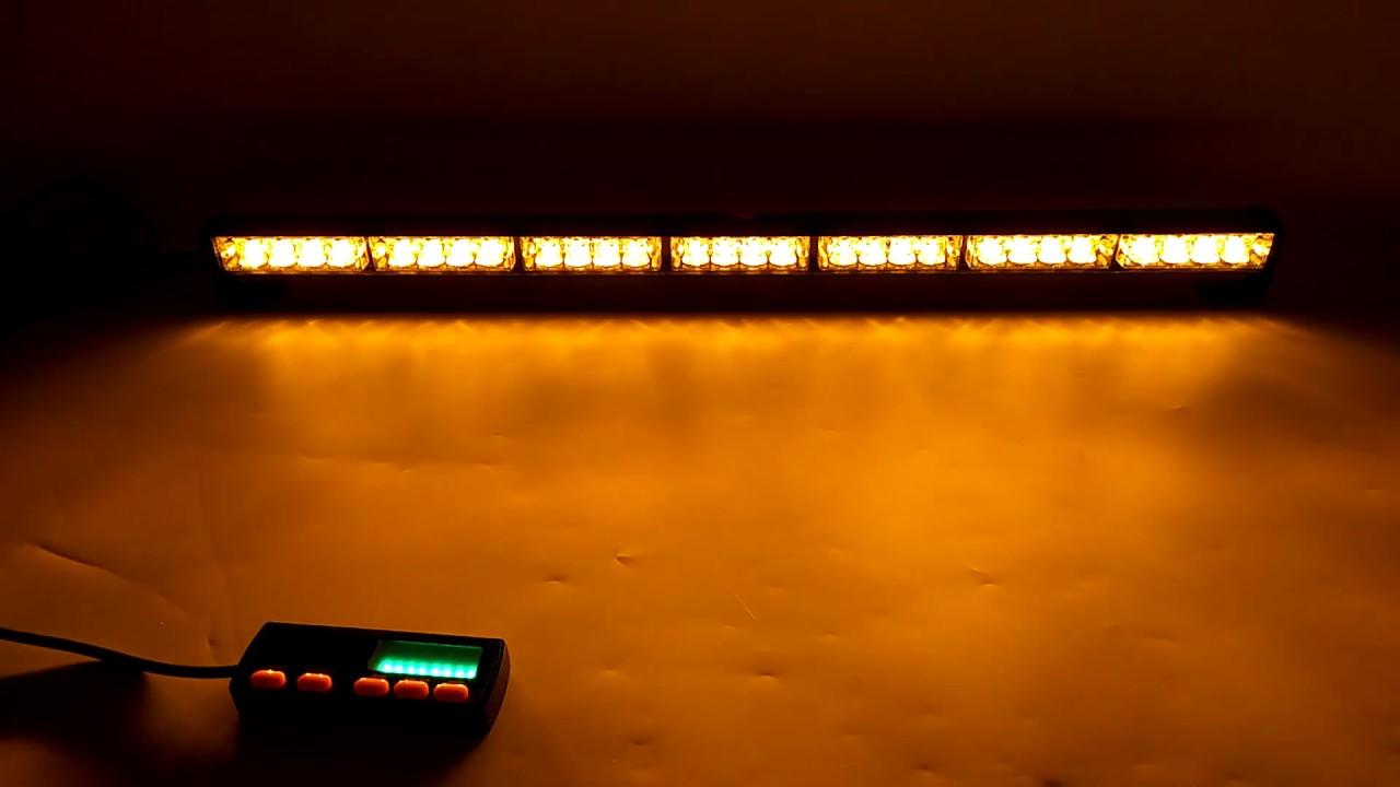 "31/"" 28 LED Strobe Lights Bar Amber Yellow Emergency Warning Traffic Advisor Lamp"