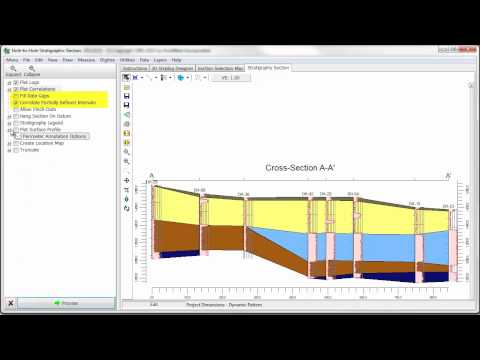 (OBS 8) RockWorks: Borehole Manager - Stratigraphy Straight Line Cross-Sections (RockWorks15)