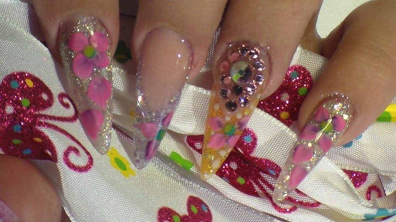 Spring Nails - Bajo Relieve - Estiletto - Natos Nails - Uñas Acrilicas - Acrylic Nails