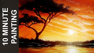 Painting an African Landscape with Acrylics in 10 Minutes!