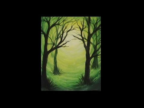 Acrylic Silhouette Painting Green Forest Light