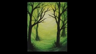 Acrylic Silhouette Painting - Green Forest Light