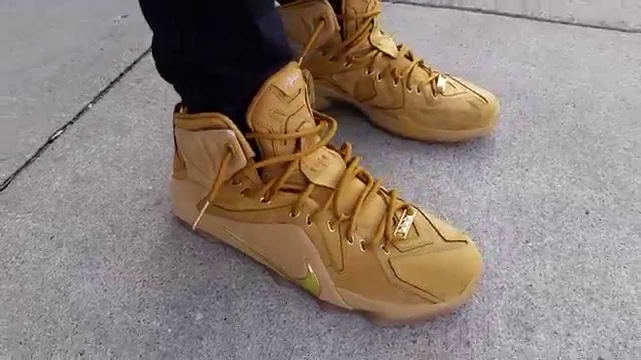 NIKE LEBRON XII 12 EXT QS LIFESTYLE TIMBERLAND WHEAT METALLIC GOLD ON FEET REVIEW HEAT YouTube