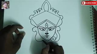 How to Draw maa durga , Durga Puja Drawing easy , Navratri Special durga , easy drawing of maa durga
