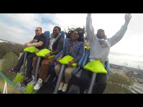 3 Live Crew (102 JAMZ morning show) rides FURY 325 at Carowinds in Charlotte, NC - Reverse POV