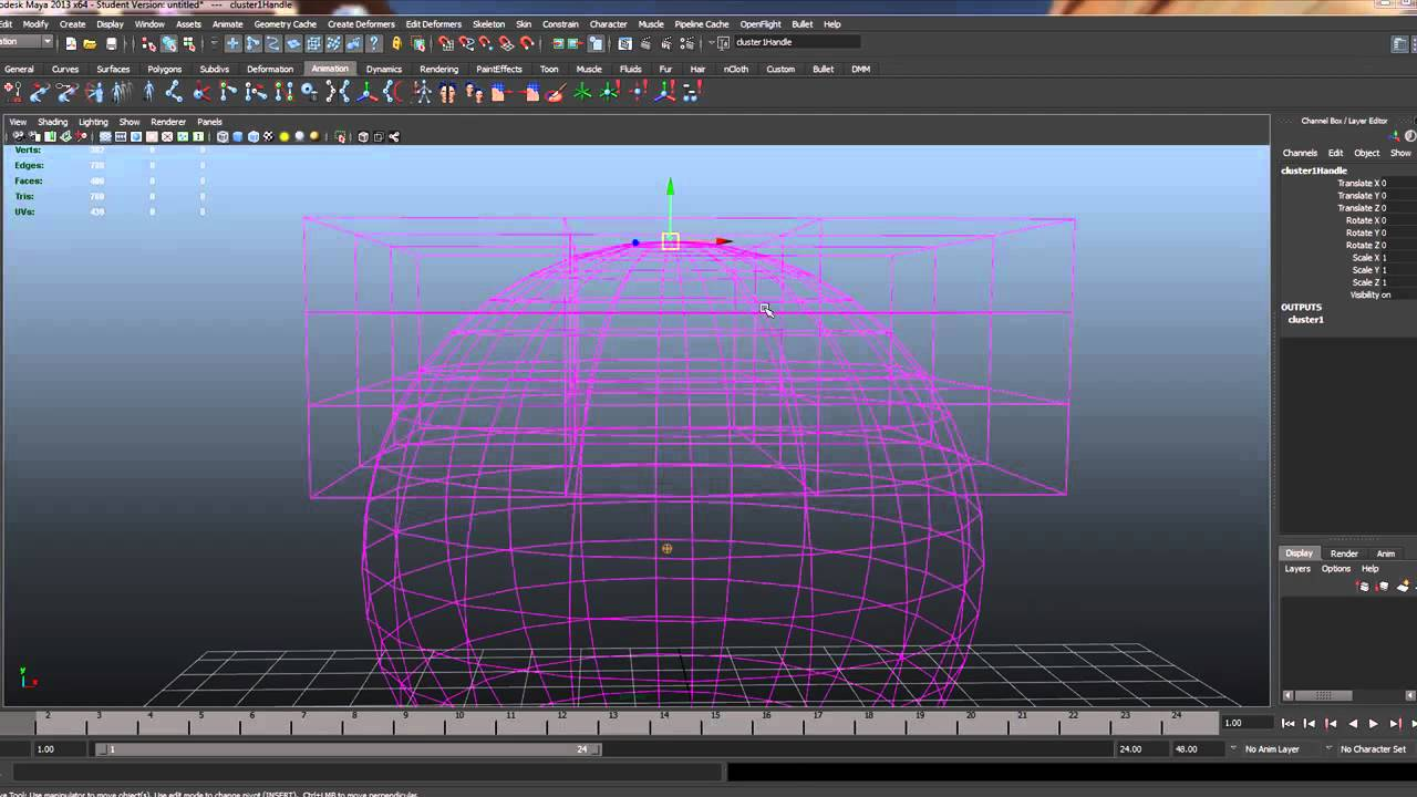 Rigging with Lattices and clusters in Maya