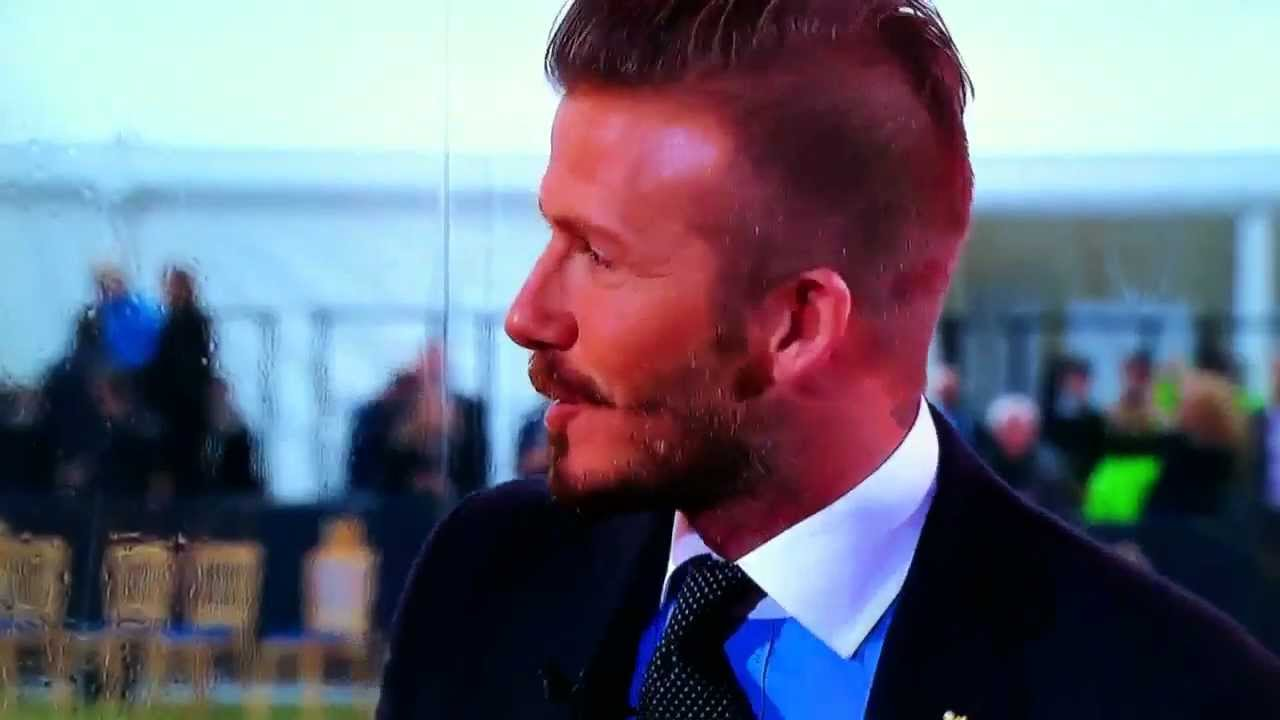 DAVID BECKHAM INTERVIEW OLYMPIC FLAME ARRIVES IN THE UK FOR LONDON - Hairstyle beckham 2012