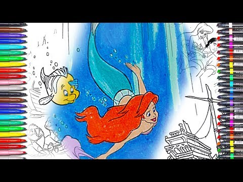 The Little Mermaid Coloring Book★Disney Princess Ariel Coloring Pages free videos games with crayon