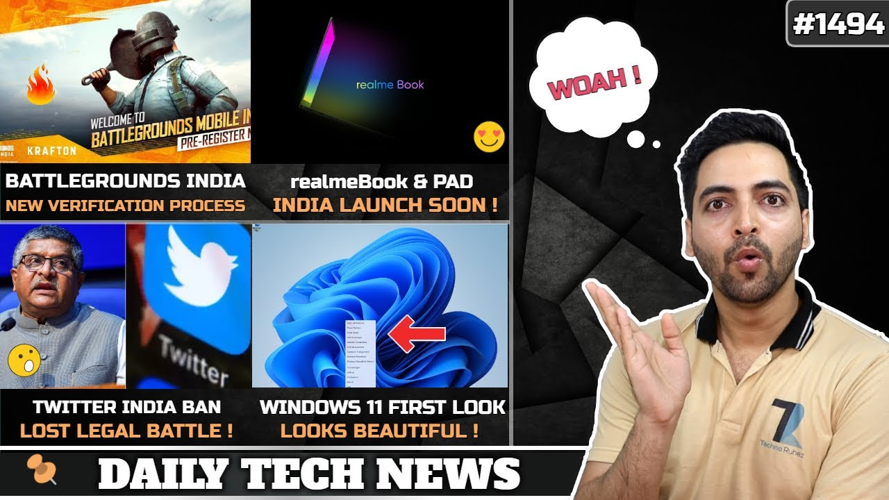 BGMI Phone Number Login😲,realmeBook & Pad India Launch,Twitter Huge Ban⚡,Windows 11 First Look😍,M32