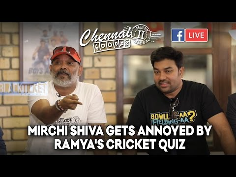 Mirchi Shiva gets annoyed by Ramya's Cricket Quiz | Chennai 28 II FB Live by Trendloud