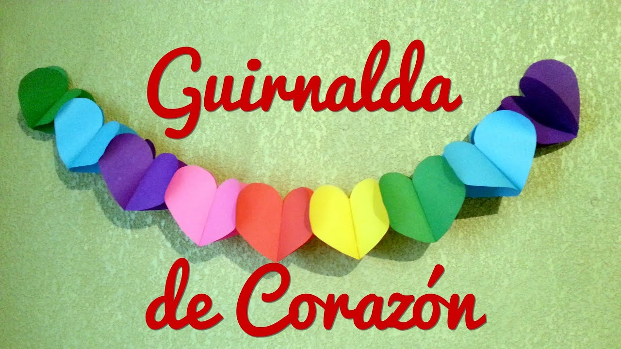 Guirnalda de Corazon | Manualidades Faciles - YouTube