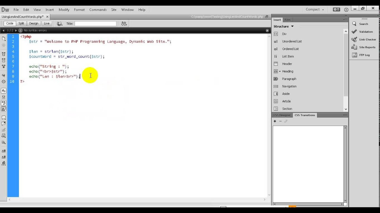 PHP Tutorial 28 How to count word and length of String with PHP Programming