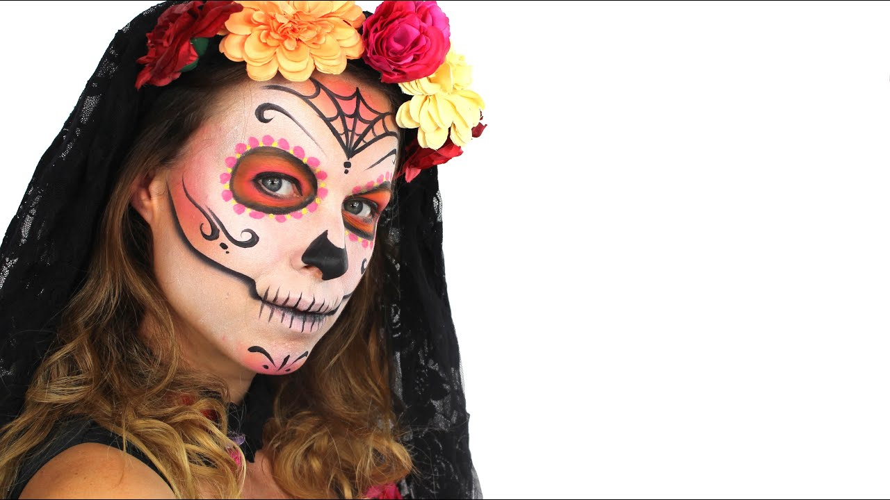 day of the dead makeup tutorial for halloween easy sugar skull - Halloween Day Of The Dead Face Paint