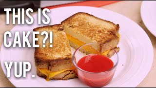 How To Make A GRILLED CHEESE SANDWICH...CAKE! Pound cake