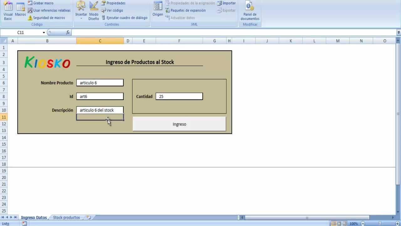 Formulario de Ingreso de datos en Excel - YouTube