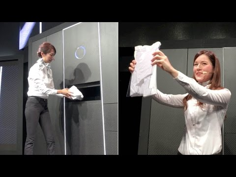 "A demonstration of ""Laundroid,"" the world's first automated laundry-folding robot"