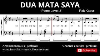 notasi balok dua mata saya - tutorial piano level 3 - not lagu anak indonesia - instrument