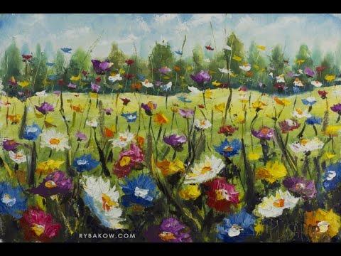 Flowers in the meadow - Original oil Painting. Artist Valery Rybakow.
