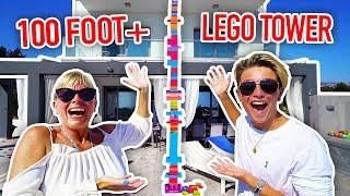 BUILDING THE TALLEST LEGO TOWER IN THE WORLD!! (100 FOOT+)