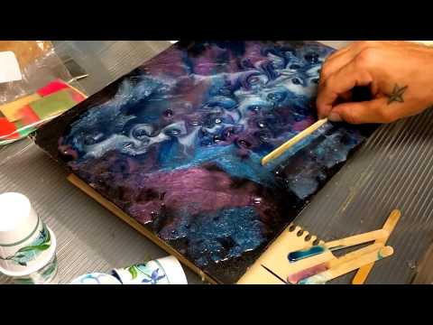 Resin Painting On Black Canvas With Crystals-Part 1