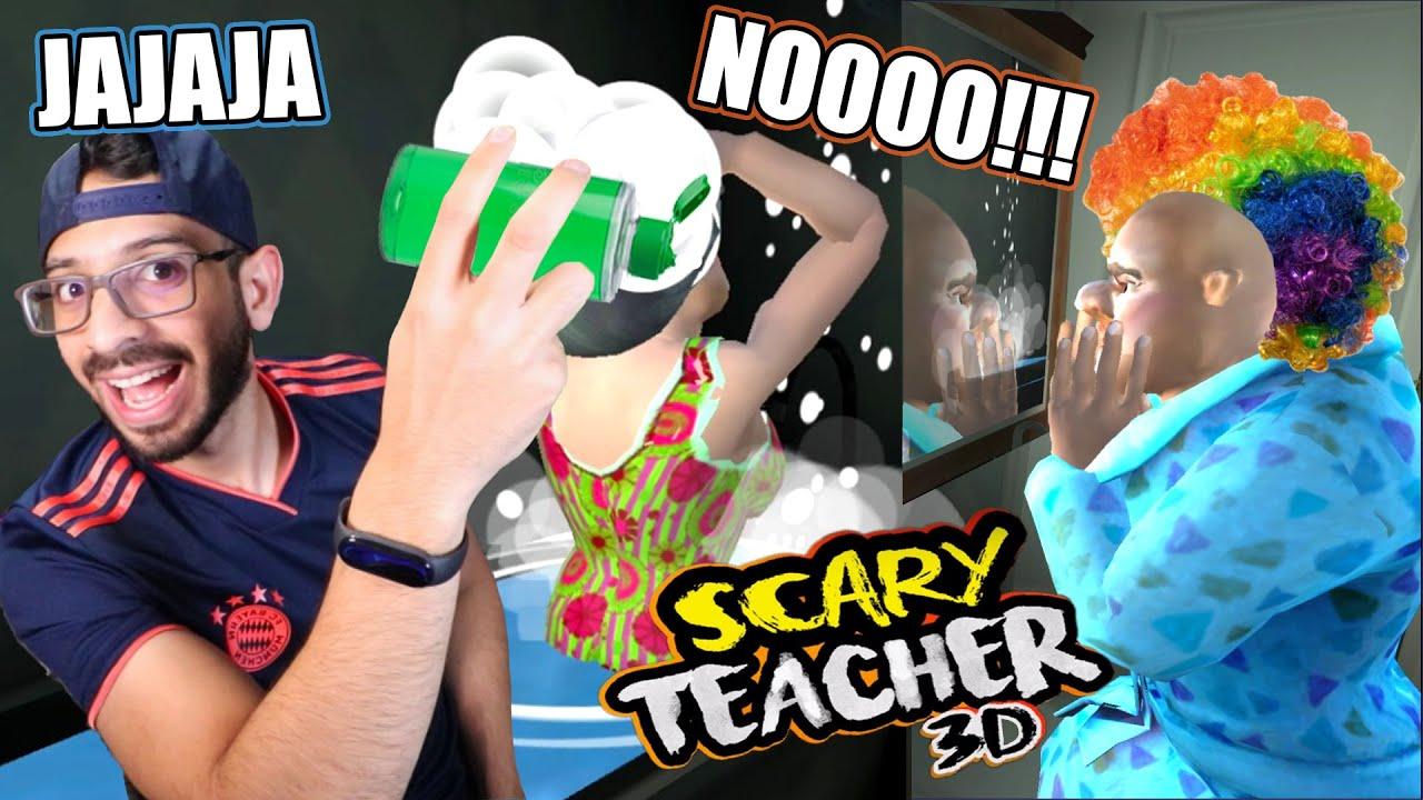BROMA EN EL BAÑO A LA MAESTRA LOCA | Scary Teacher 3D Capitulo 4 | Juegos Luky