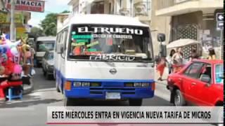ESTE MIÉRCOLES ENTRA EN VIGENCIA NUEVA TARIFA DE MICROS