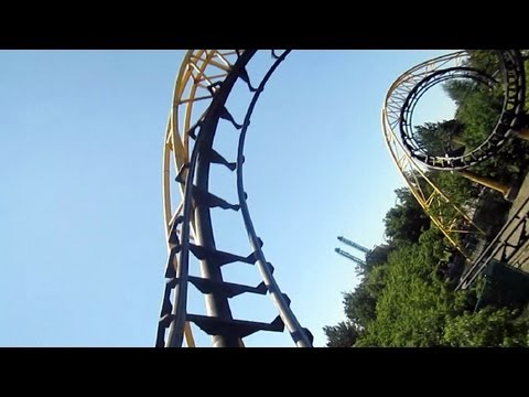 Corkscrew front seat on-ride HD POV Silverwood Theme Park