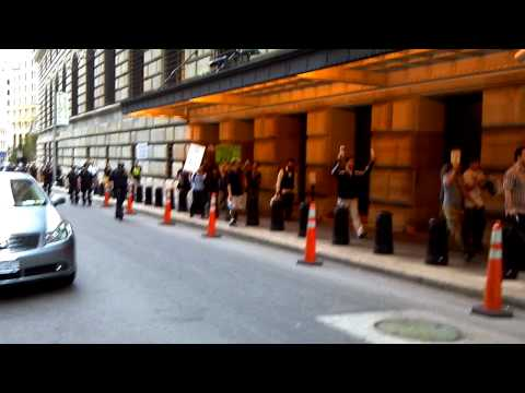 """RAW Video: Occupy Wall Street Marches on the NY Federal Reserve - 10/9/11 """"End the Fed"""""""