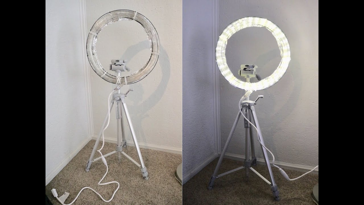 diy ring light with stand very easy youtube. Black Bedroom Furniture Sets. Home Design Ideas