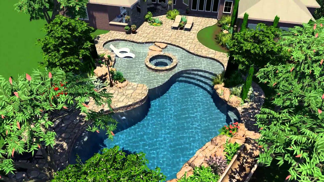 Ewing aquatech 3d custom pool design youtube for Z pool design