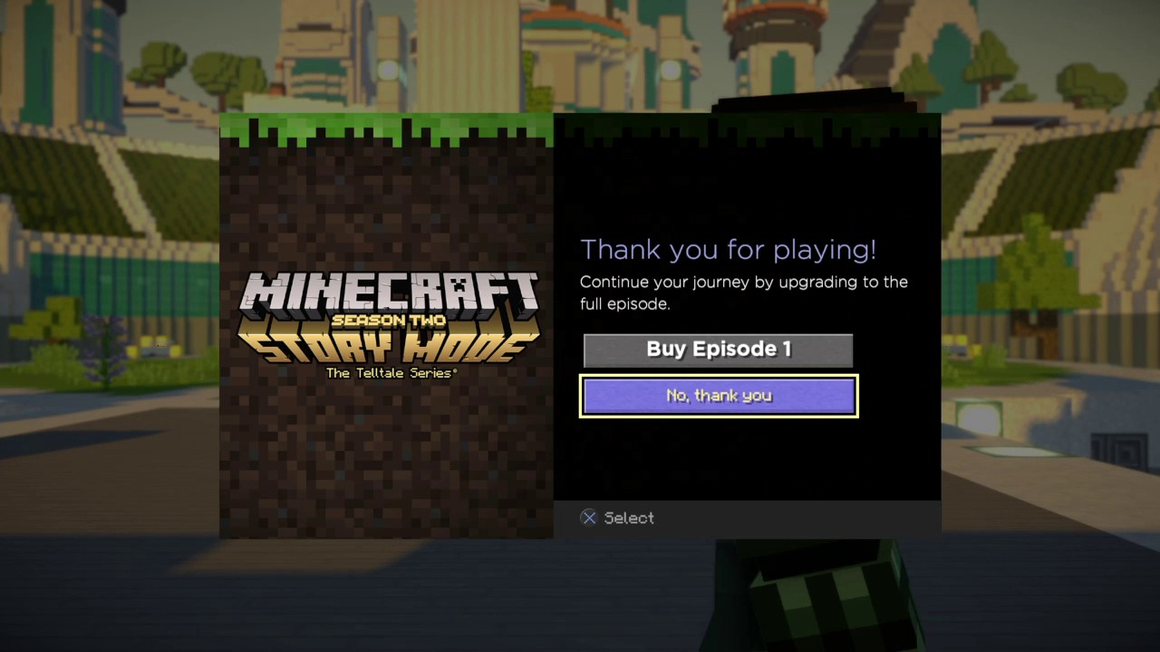 Minecraft Story Mode Season 2 Ps4 Demo Bug Demo Screen Youtube