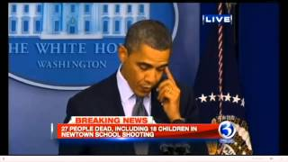 President Obama Cries during Speech on Shooting At Sandy Hook Elementary School CT