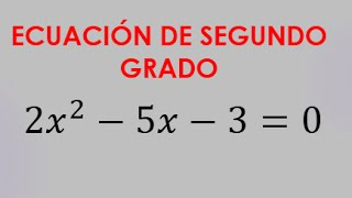 ECUACION DE SEGUNDO GRADO POR ASPA SIMPLE - EJERCICIO 3 thumbnail