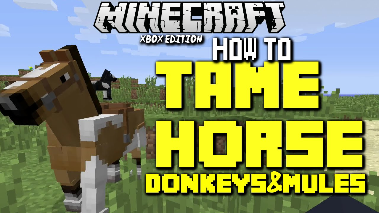 MineCraft Tutorial How To Tame A Horse, Donkey/ Mule Xbox One+ Xbox 8  Edition Gameplay TU8 Guide