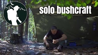 Solo overnight in the woods - Open tarp shelter, making a folding bucksaw, fatwood harvesting