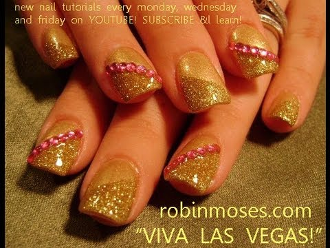 Nail Art Design Diy Easy Gold Glitter And Pink Diamond Nails