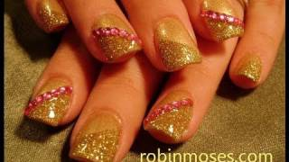 Nail Art Design | Diy Easy Gold Glitter And Pink Diamond Nails Tutorial