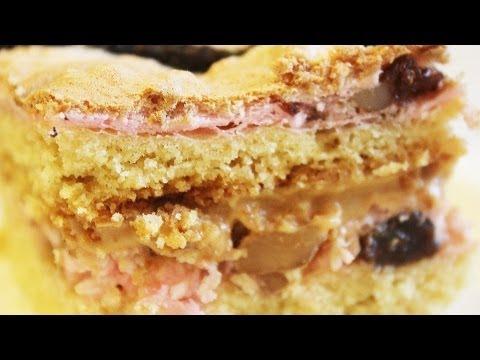 Торт Любимый на песочном тесте, с безе и сливочном кремом с варенкой!