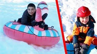 GLISSADES DE FOUS SUR LUGES GONFLABLES SNOW TUBES : Donut, Flamant Rose, Ours Polaire, Pingouin...